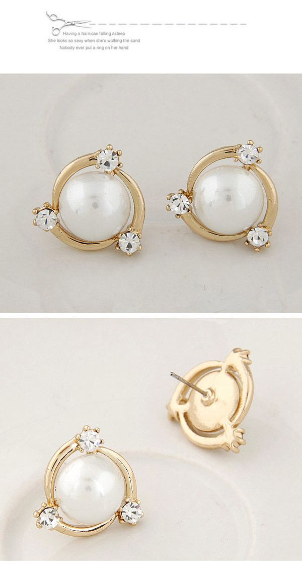 Elegant White Pearl Decorated Simple Design Alloy Stud Earrings ...