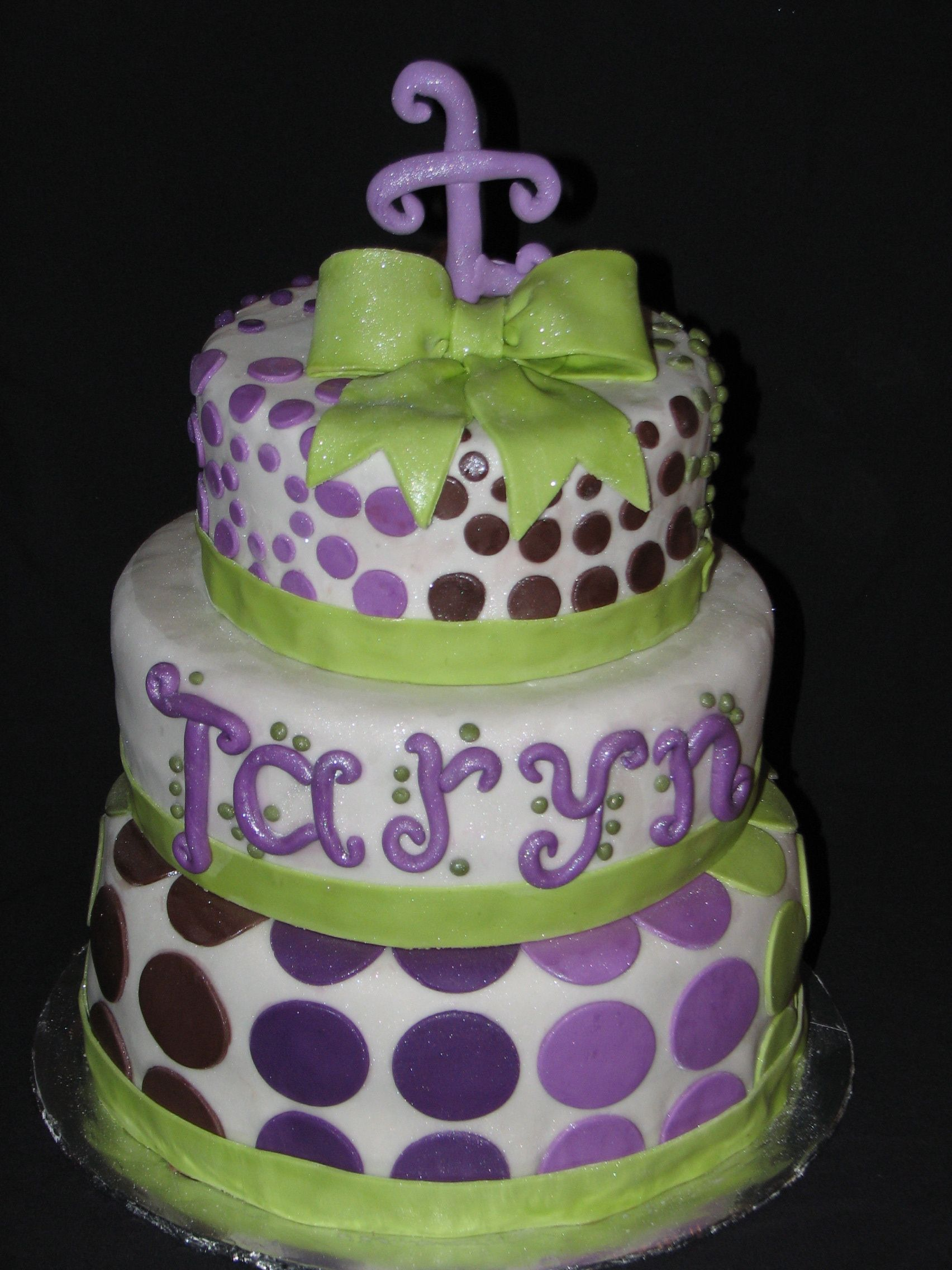 Purple And Green Baby Shower Cake