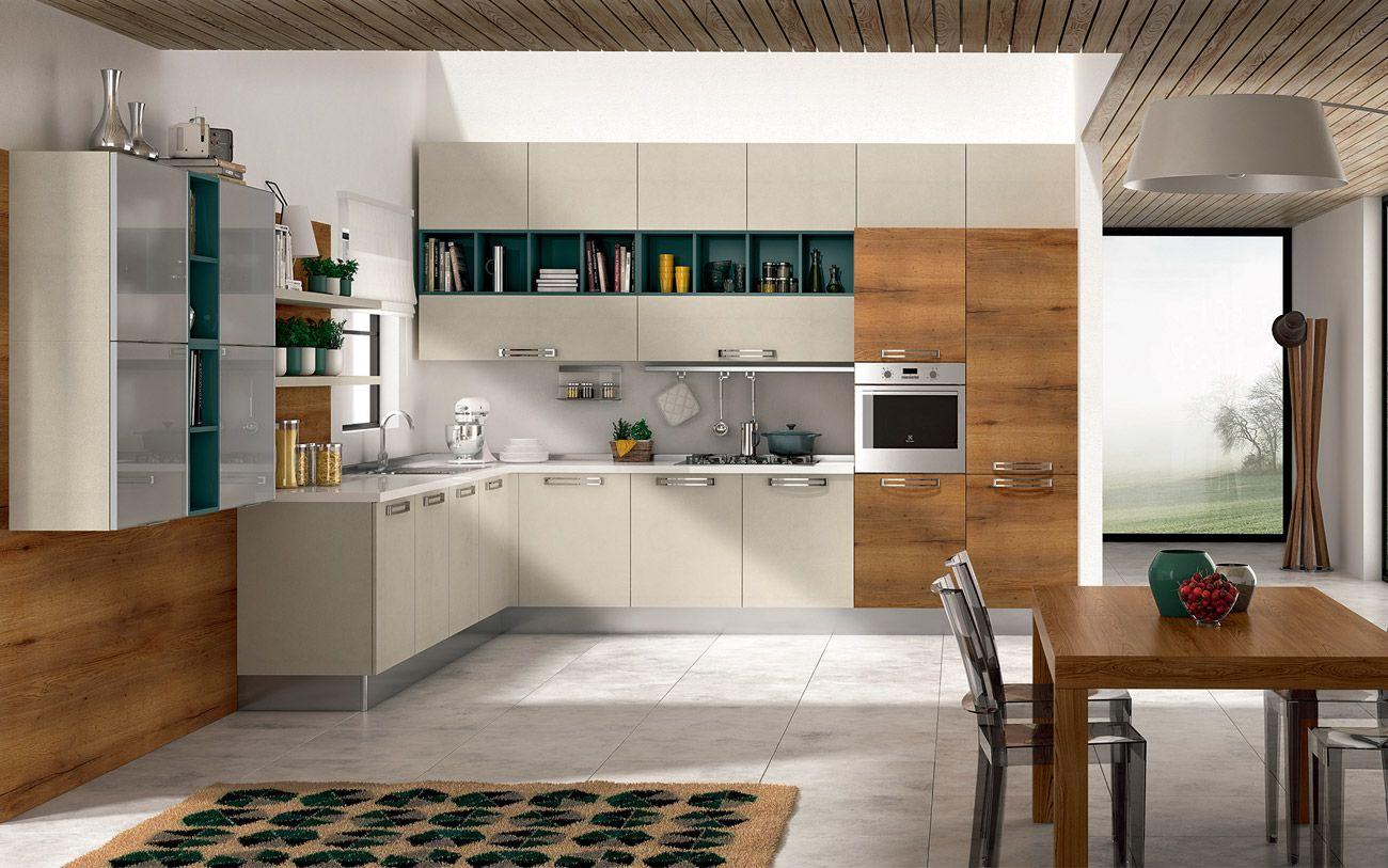 Cucina angolare moderna - Composizione 0463 | Cucine, Idee ...