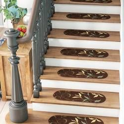 Best Arette Leaf Oval Seafoam Stair Tread Stair Treads Gray 400 x 300