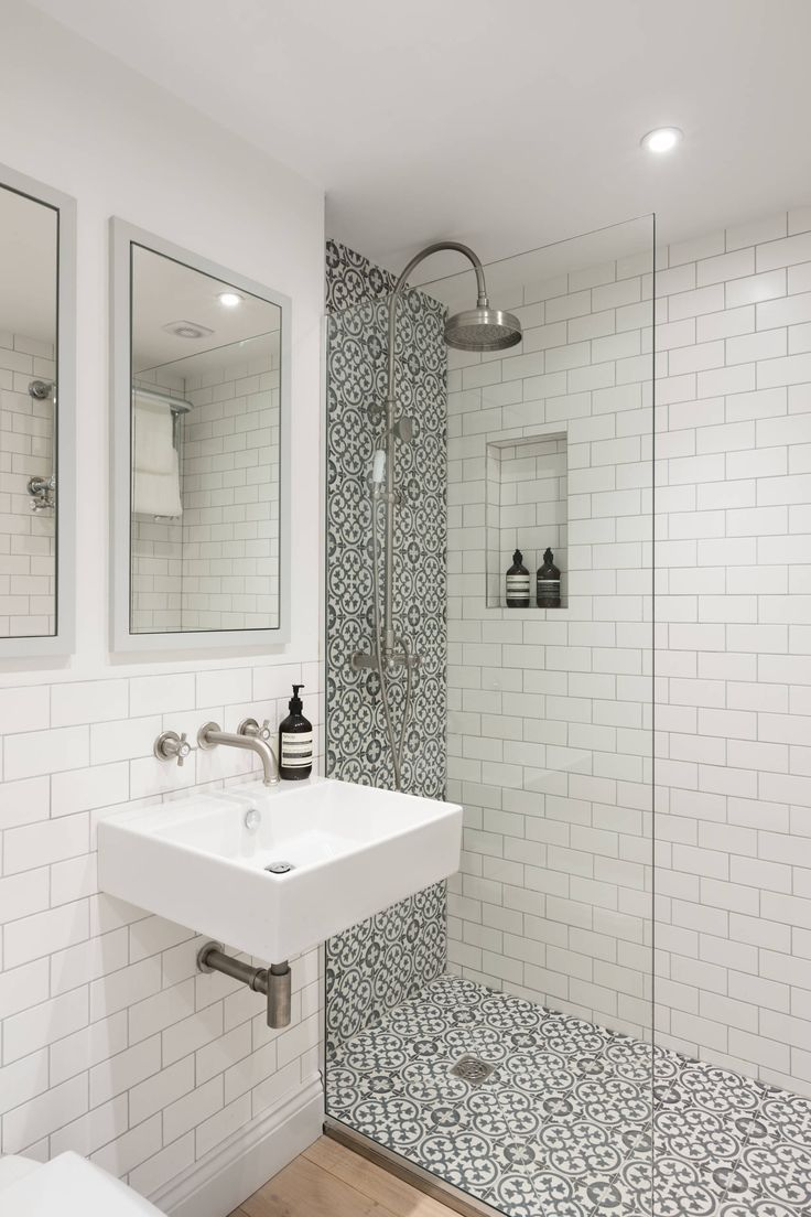 Bright and open bathroom with two different tiles. | Small ...