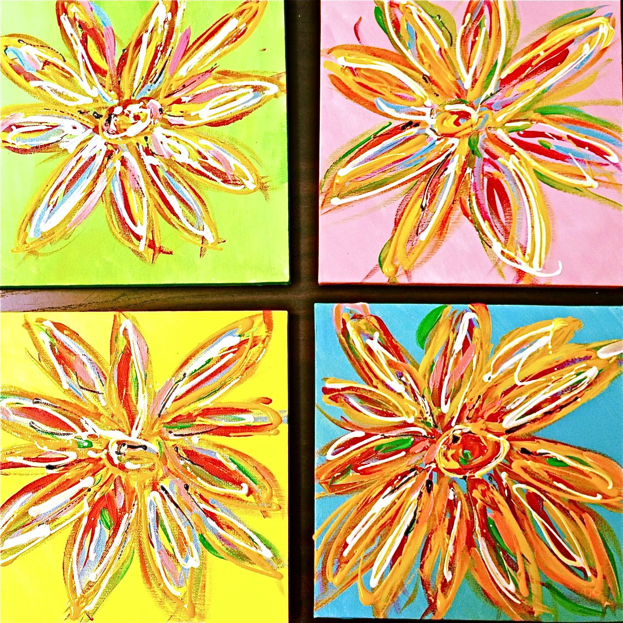 easy flower paintings (With images) | Playroom art, Flower art