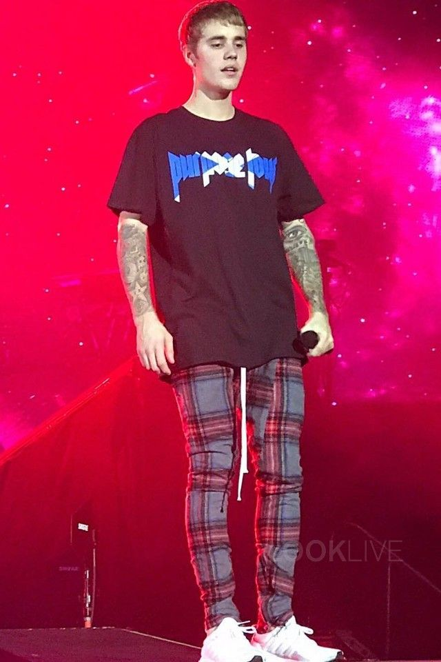 8f61bc384 Justin Bieber wearing Purpose Tour Scotland Tour Merch T-Shirt, Fear of God  Flannel Pants, Adidas Ultra Boost Sneakers