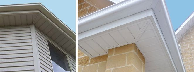Mitered Corner For Shiplap Style Soffit Vinyl Cladding Craftsman House Roof Soffits