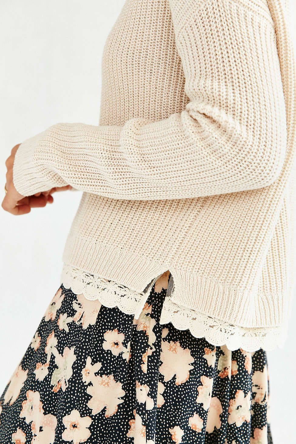 45ac03686c Kimchi Blue Lace Trim Cropped Sweater