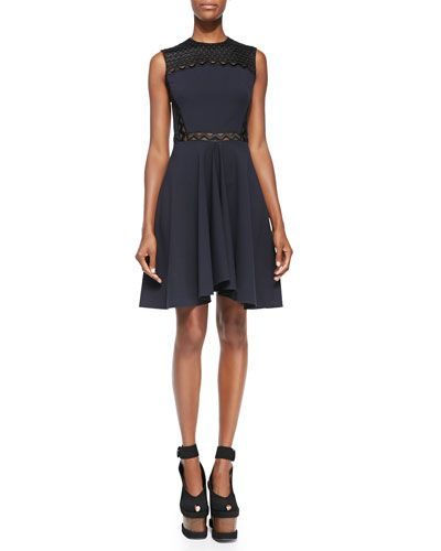 B2R24 Stella McCartney Ric-Rac Paneled Fit-and-Flare Dress, Midnight