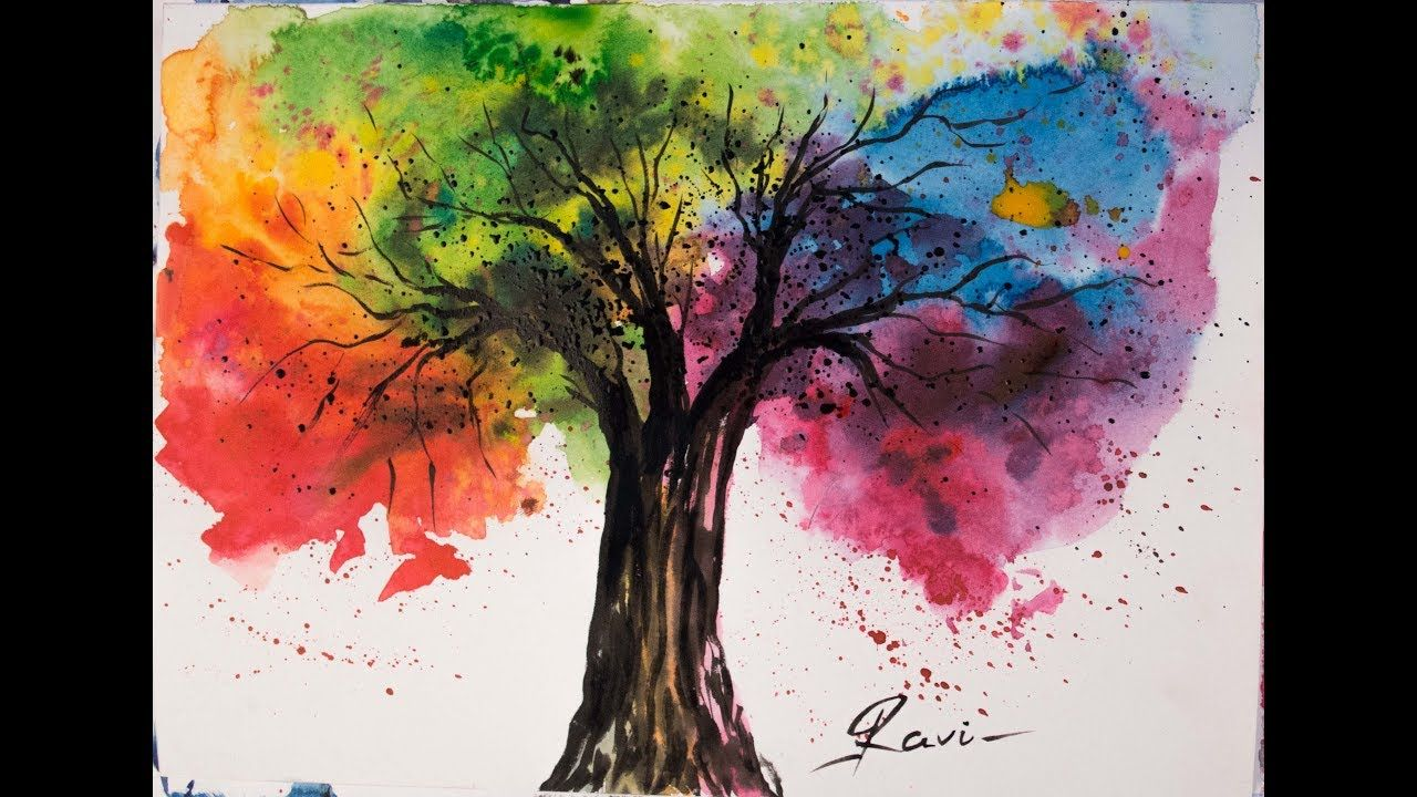26021e0f9 Rainbow Tree Watercolor Painting - YouTube | Beyond 5th! in 2019 ...