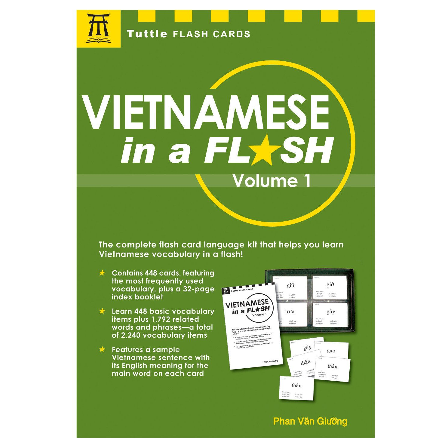 With a full range of features to help beginners and intermediate learners, these Vietnamese flash cards are an excellent learning tool for anyone who wants to learn Vietnamese vocabulary and master the Vietnamese language. Containing 448 flash cards of the most commonly used Vietnamese words and phrases, along with sample sentences, handy indexes and a guide to using the cards for most effective learning, Vietnamese in a Flash Volume 1 delivers.