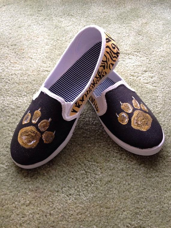 Gold Paw on Black Tigers Mascot Hand Painted Tennis Shoe Slip Ons by  TheMaddShoestress 99bdd4ad4