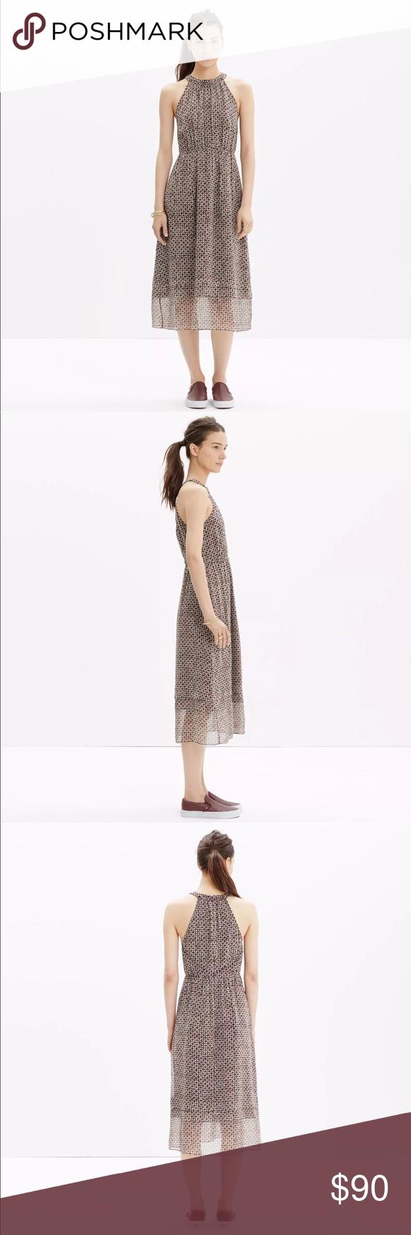 Madewell Silk Midi Dress In Diamond Tile Brown Madewell Silk Dress Madewell Dresses Silk Midi Dress [ 1740 x 580 Pixel ]