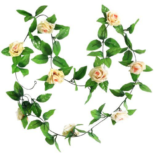 2x artificial rose garland silk flower wedding home garden decor 2x artificial rose garland silk flower wedding home garden decor champagne amazon beauty mightylinksfo