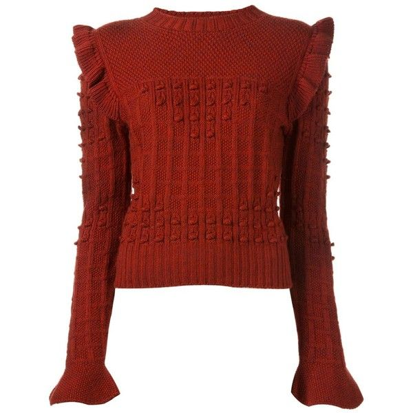 Philosophy Di Lorenzo Serafini ruffle shoulder sweater (£365) ❤ liked on Polyvore featuring tops, sweaters, red ruffle sweater, red top, ruffle top, red ruffle top and flounce tops