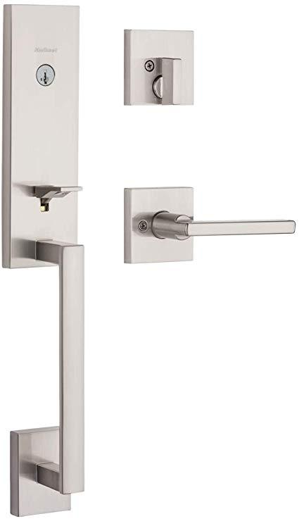 Kwikset 98180 014 Vancouver Low Profile Front Lock Handleset With Slim Modern Halifax Door Lever Handle Featuring Smartkey Sec Door Handles Kwikset Door Levers