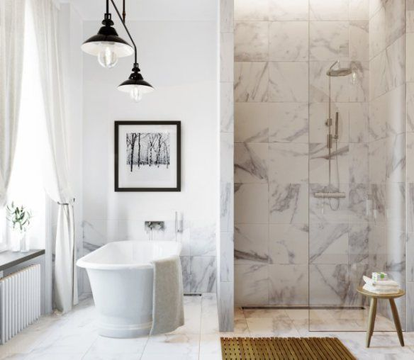 White marble bathroom. Eclectic but traditional decor.