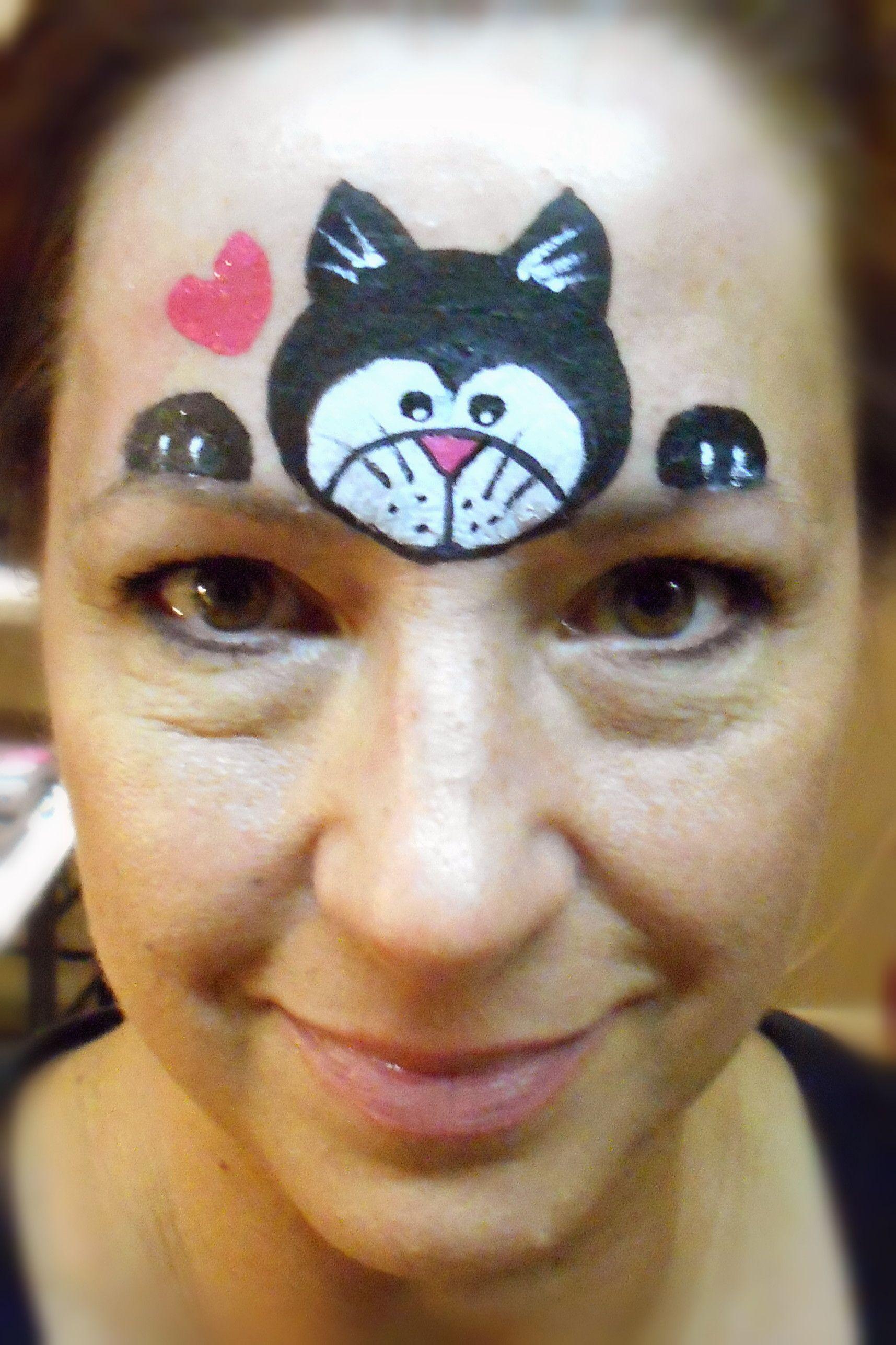 blackwhite kitty smiley facesjo  kinderschminken