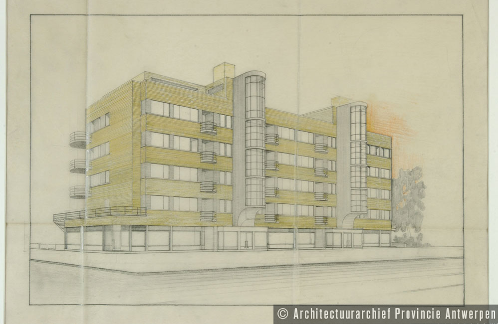 Antwerpen (Wilrijk), Prins Boudewijnlaan, ontwerp appartementsgebouw Elsdonck (1933).  photo credit: Architectuurarchief Provincie Antwerpen, found on the website: http://www.debalansvanbraem.be