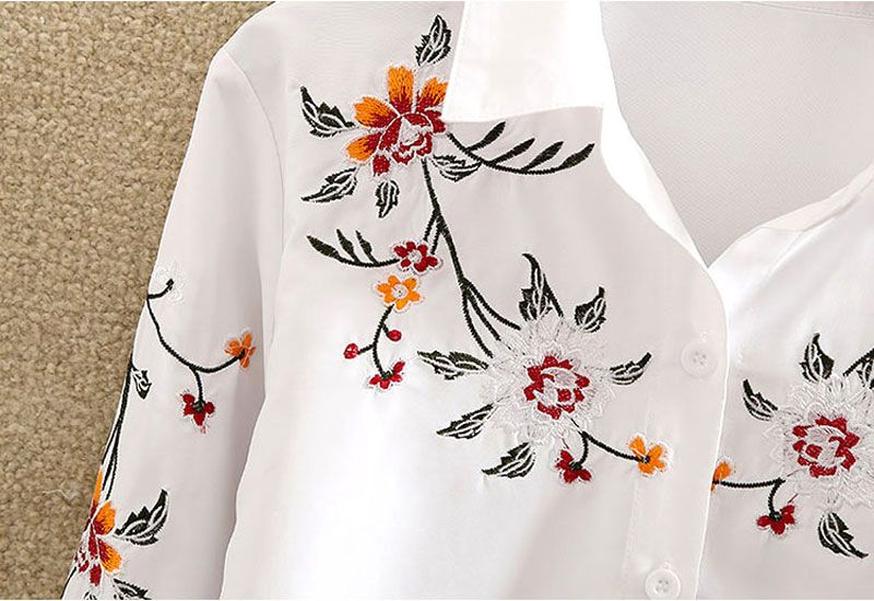 Embroidery Long Sleeve Loose Blouse