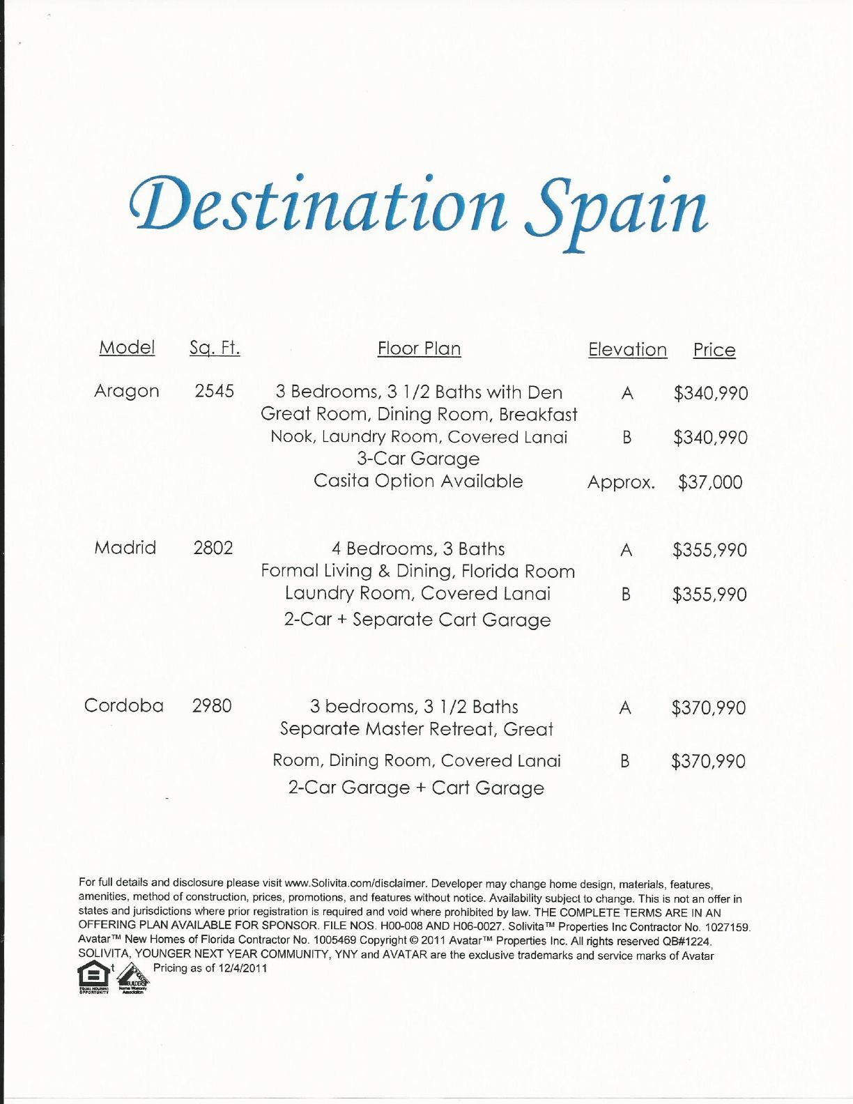The Price List for The Destination Spain Series in