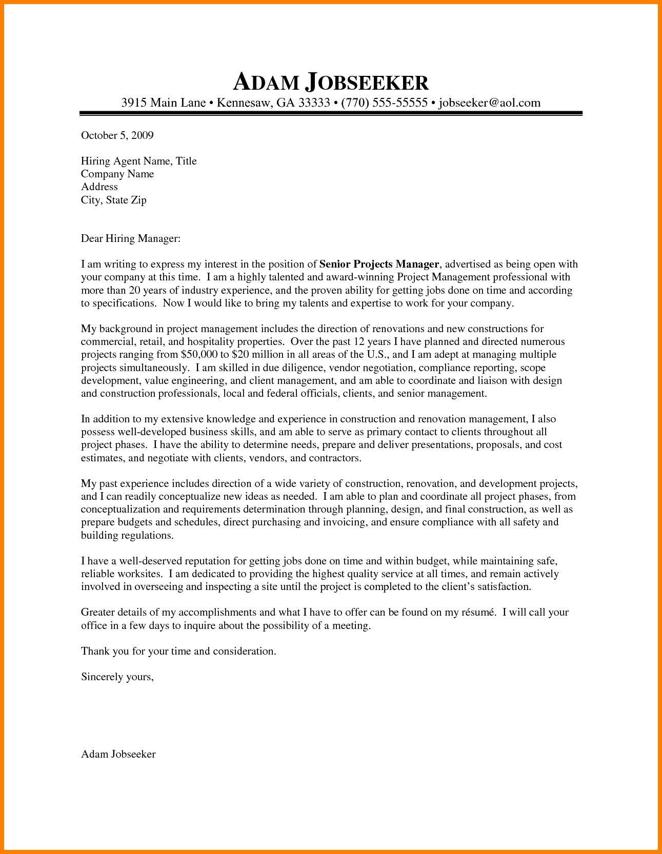 Project Manager Cover Letter Creative Construction Project Manager