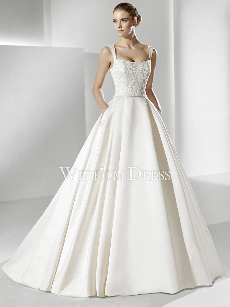 Spectacular wrap white satin natural spaghetti straps a for Satin a line wedding dress