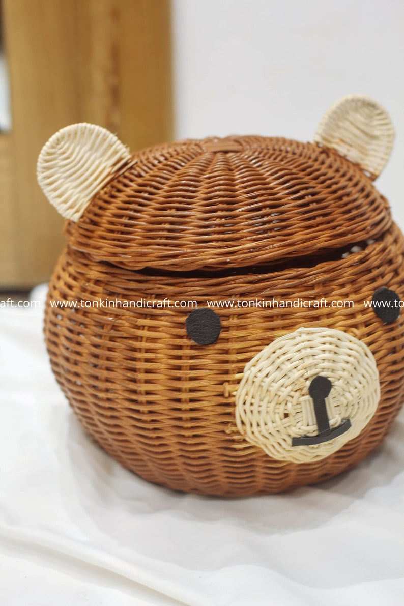Teddy Bear Woven Rattan Round Decorative Storage Baskets Display Storage Wicker Holder Natural Handmade Handicraft Vintage Holder Container In 2020 Decorative Storage Baskets Wicker Baskets Storage Woven Baskets Storage