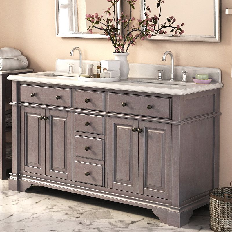 rustic style 60-inch double sink bathroom vanity and matching wall