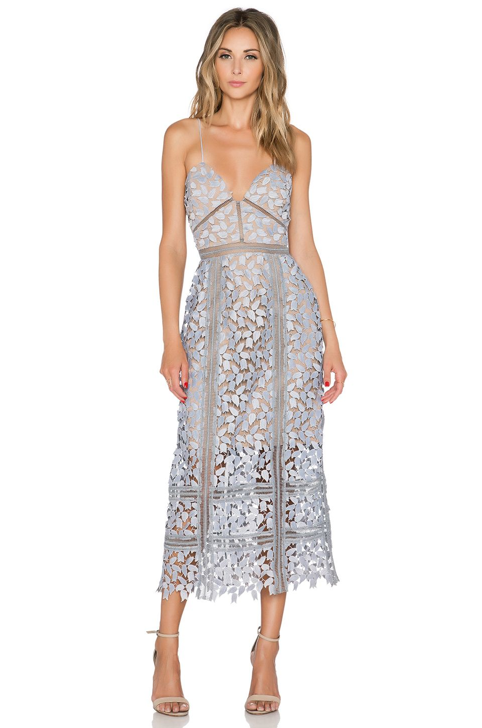 self-portrait Arabella Midi Dress in Smoked Lilac   Nude   Les ... 2a3a8b2648