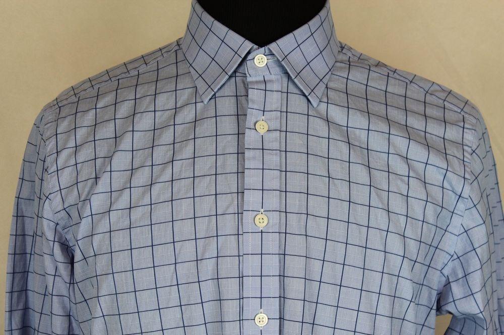 Charles Tyrwhitt Slim Fit Mens Long Sleeve Shirt Sz 16.5 Blue Plaid #CharlesTyrwhitt