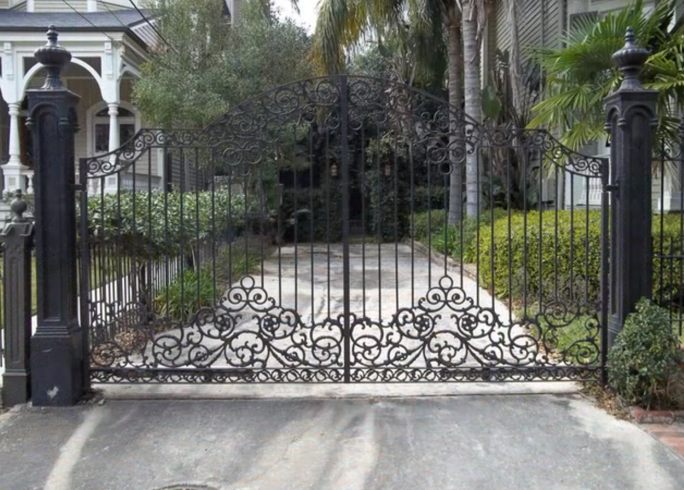 Ornamental wrought iron gates - Inspiring Beautiful Wrought Iron Driveway Gate With Two Giant Fence
