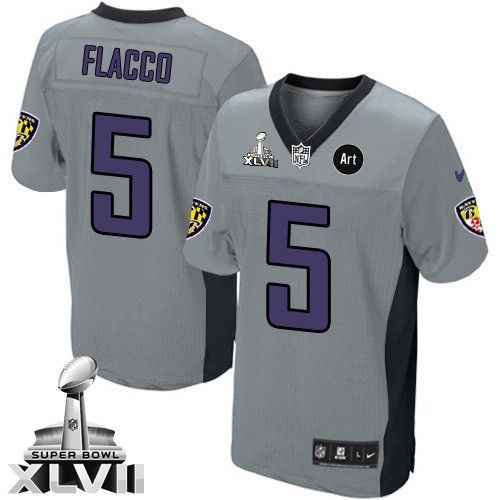 ... Mens Nike Baltimore Ravens 5 Joe Flacco Limited Grey Shadow Super Bowl  XLVII NFL Jersey ...