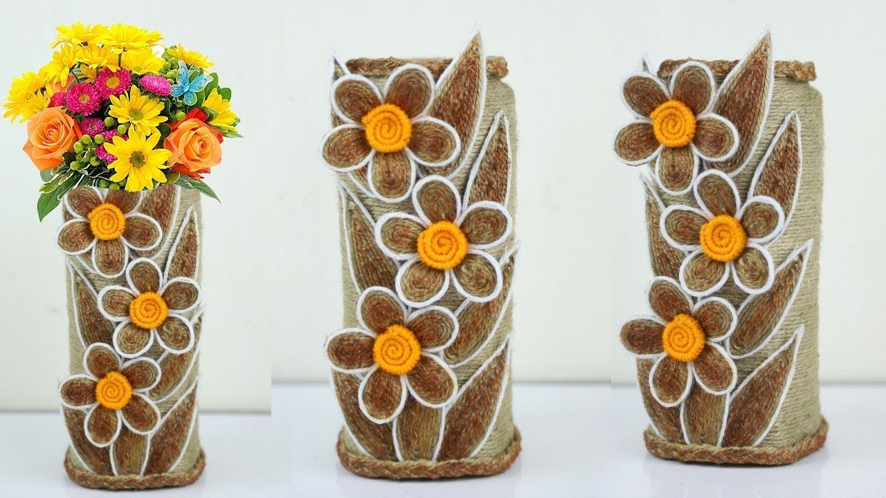 Diy Beautiful Flower Vase Decoration Ideas With Jute Rope Home Decor Burlap Crafts Newspaper Crafts Diy Flower Vases Decoration