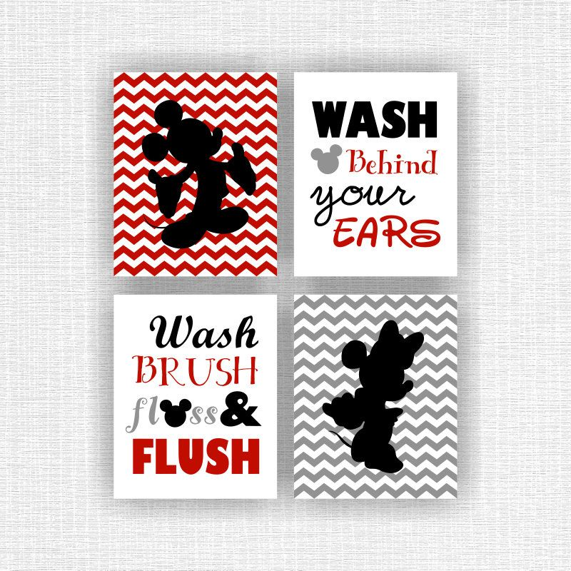 Minnie Mouse And Mickey Mouse Wall Art, Disney Bathroom Quote Decor Art,  Red Gray Black, Set Of 4, 8x10, INSTANT DOWNLOAD