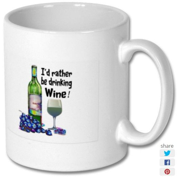 New product 'Id rather be drinking wine Printed Mug' added to East Yorkshire Gifts! - £6.99