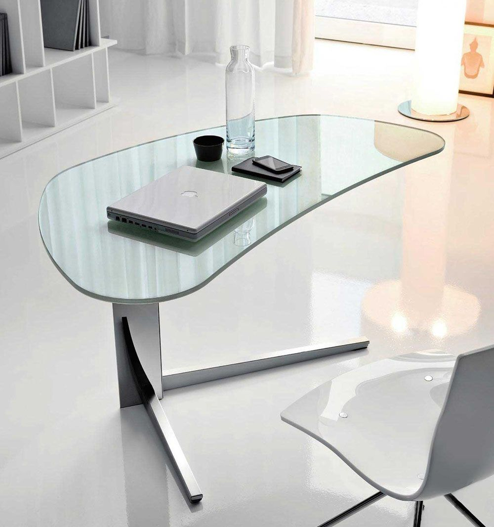 Charming Furniture. Outstanding Modern Office Desk Design With Oval Glass Table  Combined Freestanding Triangle Foot Also Fancy White Chairs Featuring Nice  Laptop And ...