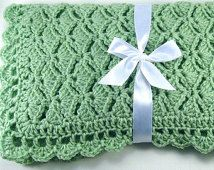 PDF Pattern Crocheted Baby Afghan, CAR SEAT Size and Newborn Size Blanket -- Nested Fans