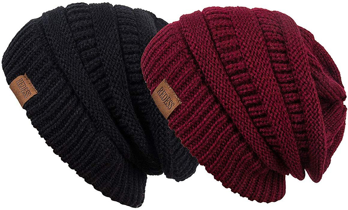 924a00066 Amazon.com: REDESS Slouchy Beanie Hat Men Women 2 Pack Winter Warm ...