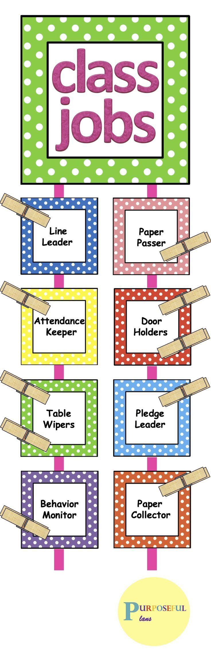 Classroom job chartcards with headers descriptions