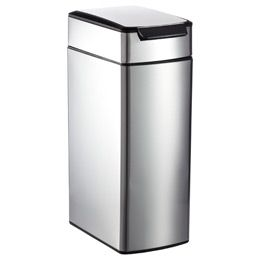 space saving trash can  container store  slim touch bar can  stainless steel  hands free trash can