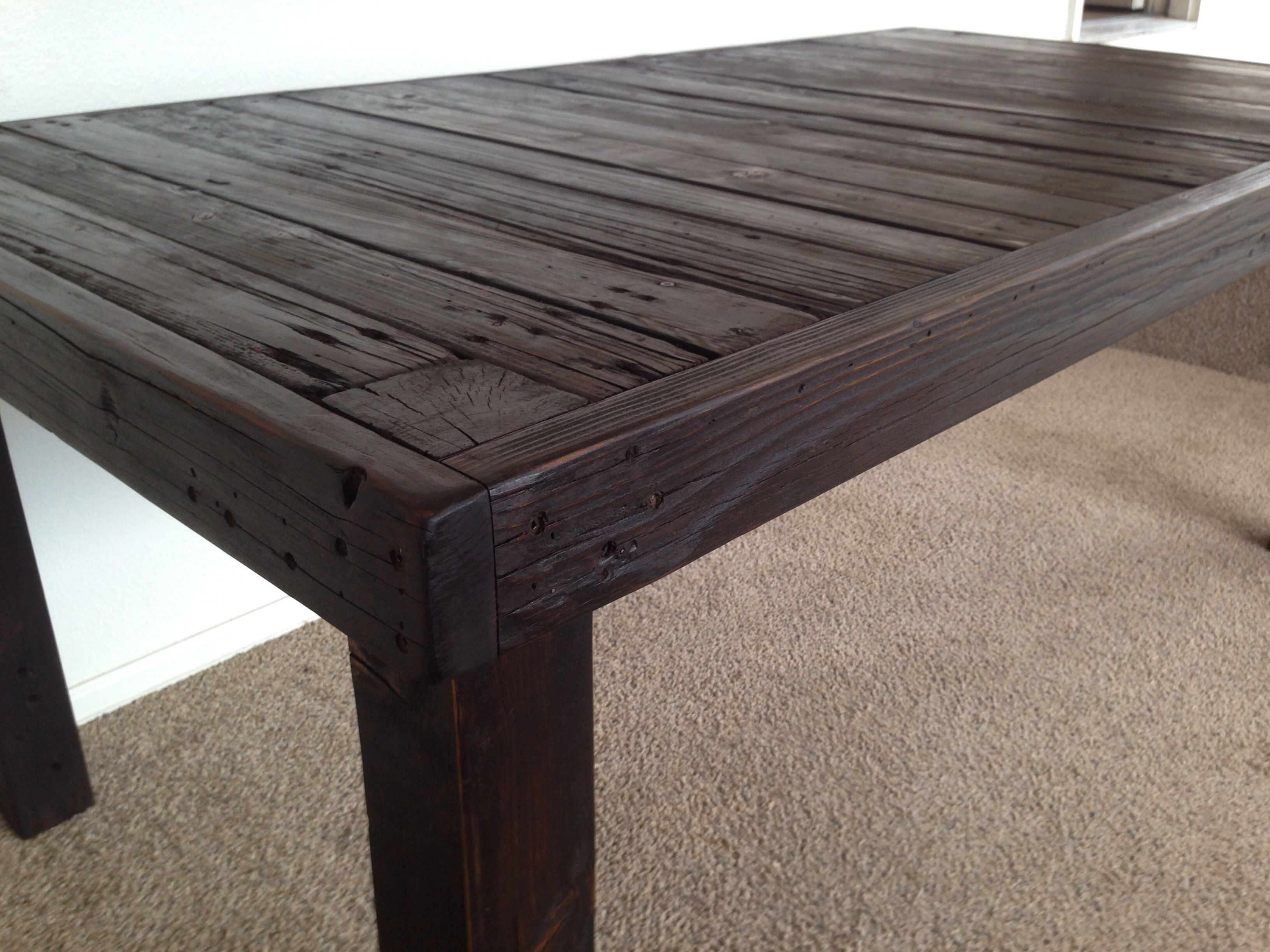 This reclaimed wood table was fun to build - dark walnut stain ...