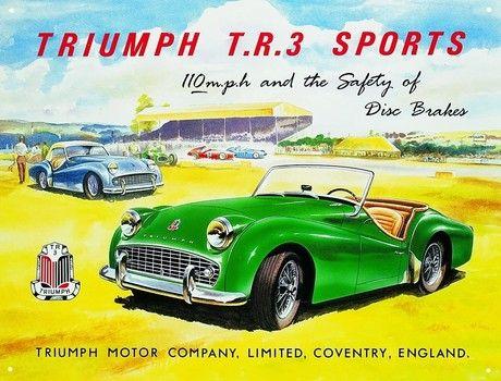 Triumph TR3 Classic British Sports Car Retro Vintage Old Large Metal Tin Sign
