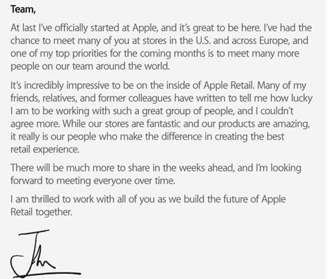 The note that apples new retail chief just sent employees to the note that apples new retail chief just sent employees to introduce himself thecheapjerseys Choice Image
