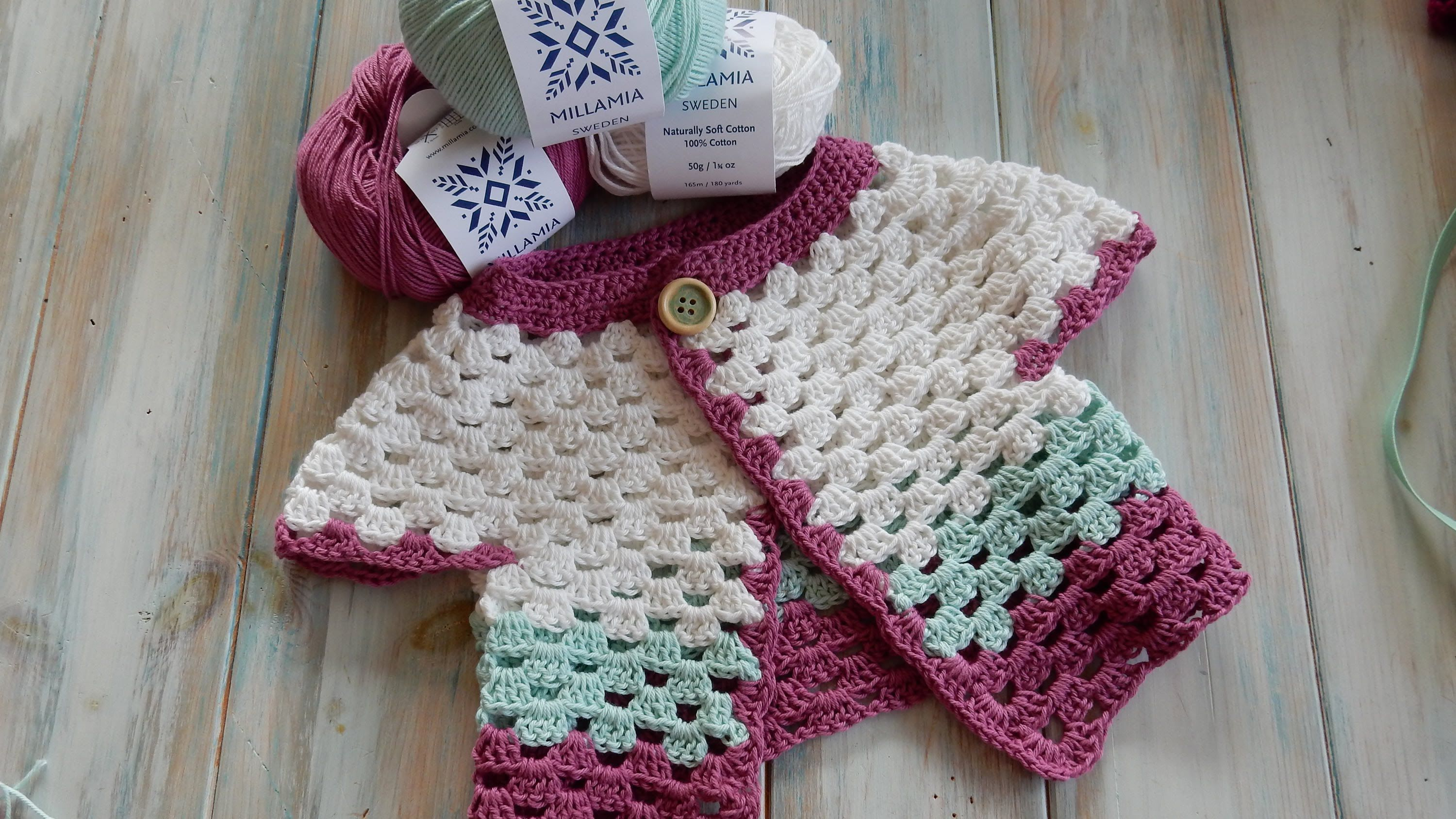 In this video I show you how to crochet my simple baby cardigan ...