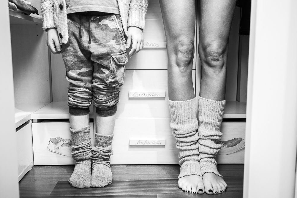 Love the idea of mum and kid's ankles in the closet!