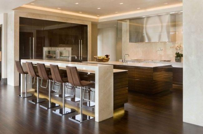 Wohnideen Für Die Moderne Küche Holz Beige Marmor Holzfronten