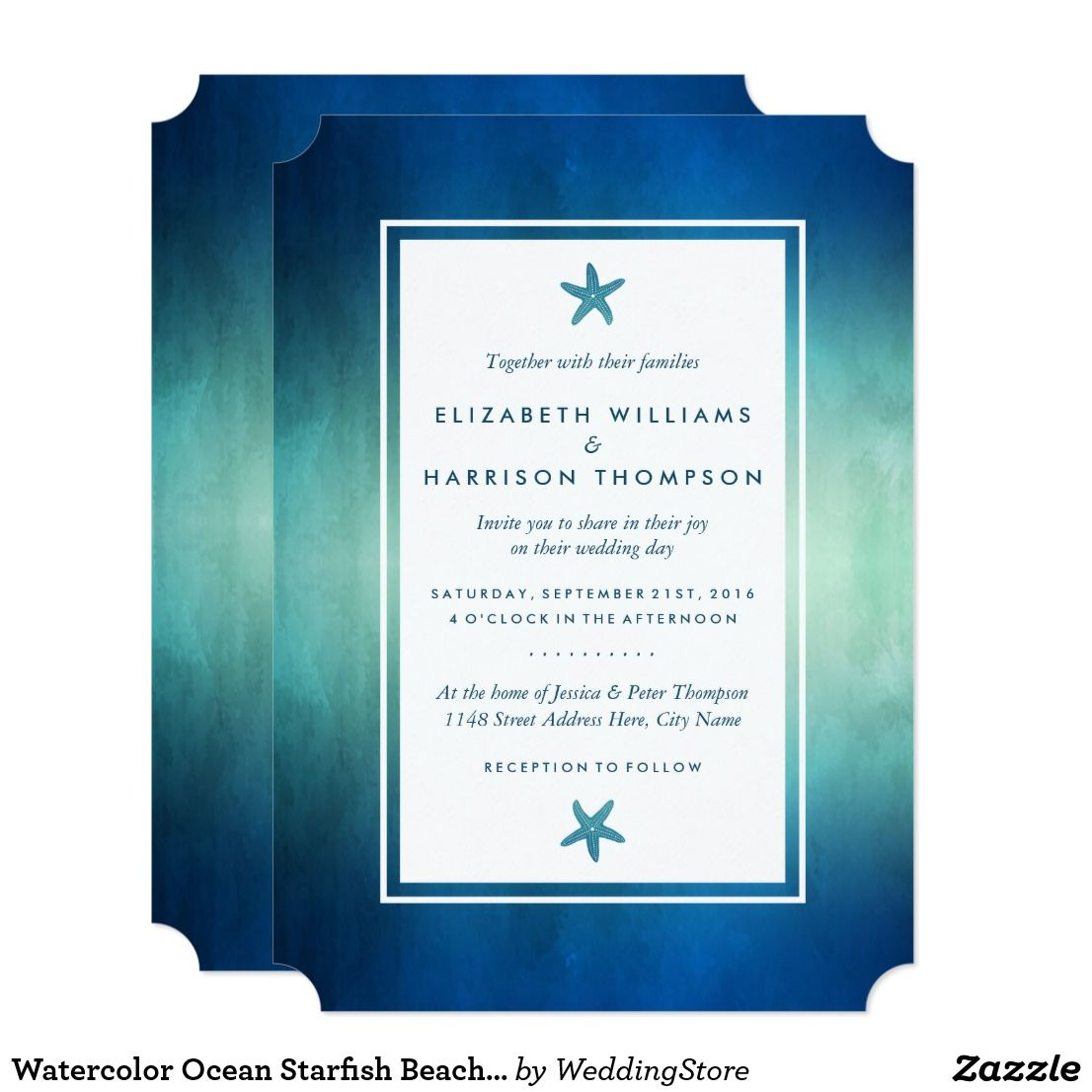 Watercolor Ocean Starfish Beach Wedding Invitation | Watercolor ...