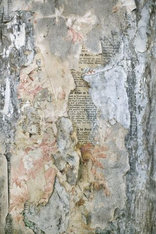Layers of old wallpaper peeling away to reveal old newspaper underneath... pinned with Bazaart ...