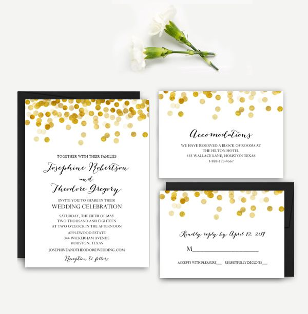 Editable Wedding Invitation Suite Black White Gold Confetti ...