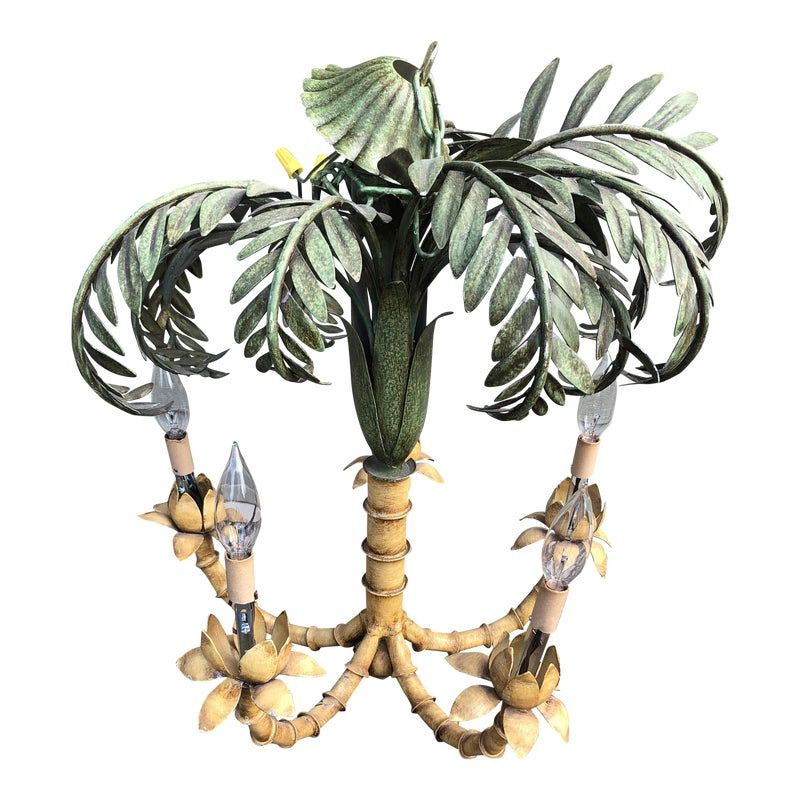 1970s Coastal Regency Palm Tree Chandelier Metal Tole Painted #tolepainting