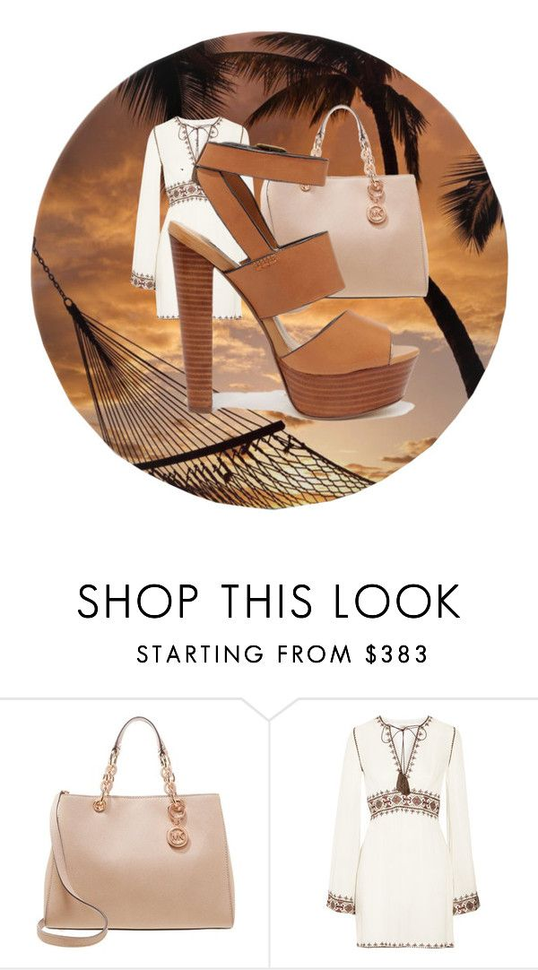 """""""simple brown beach days"""" by queencastle ❤ liked on Polyvore featuring MICHAEL Michael Kors, Talitha and Steve Madden"""