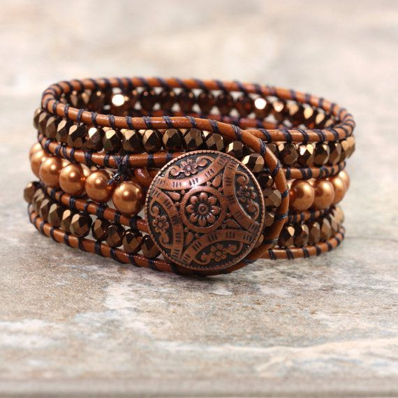 Rust Leather Cuff Bracelet Bohemian Style by AbacusBeadCreations